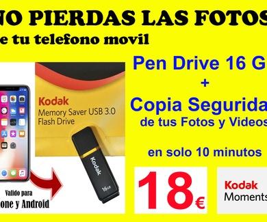 Promoción Teléfono Móvil Pendrive 16 Gb y copia de seguridad de tus fotos y videos