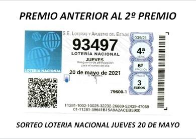 PREMIO DE LA LOTERIA NACIONAL DEL PASADO JUEVES 20 DE MAYO EN CASA CARMINA.