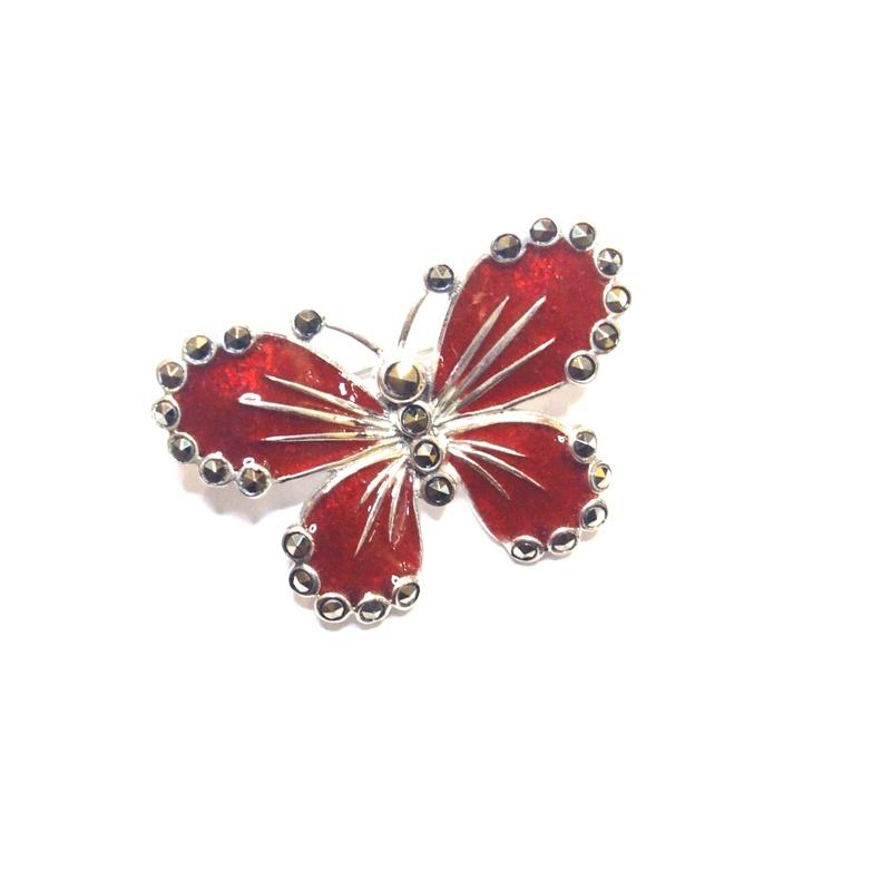 Broche Plata  1º ley con forma  mariposa , laca roja y marcasitas AB-619/74: Catálogo de Antigua Joyeros