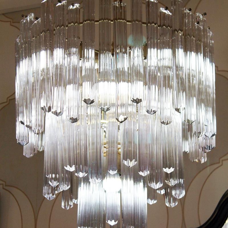 Chandelier cristal de murano realizada por Venini: Artículos  de Ruzafa Vintage