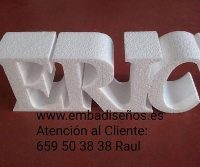 LETRAS E INICIALES 3D PARA BODAS EN CORCHO BLANCO