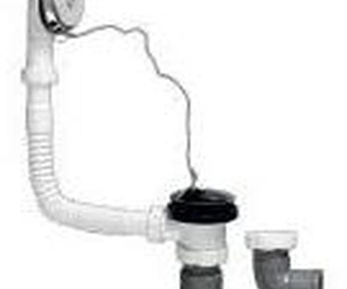 Salida vertical y horizontal PVC con rebosadero, tapón y cadena