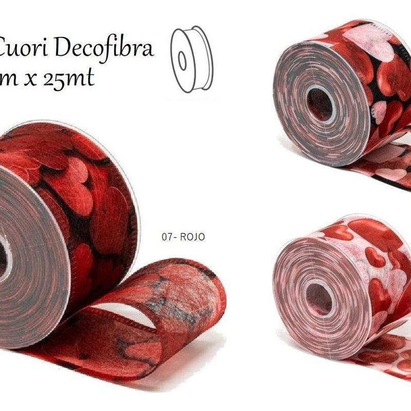 CINTA CUORI Decofibra mm70x25mt// COLORES: 01-BLANCO, 07-ROJO Y 30-NEGRO REF: 0741+(COLOR) PRECIO: 5,10€/UD