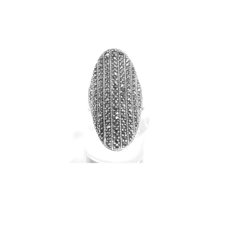 Sortija Ovalada  de Plata de 1º Ley y Marcasitas. Ref. MS-6931/00: Catálogo de Antigua Joyeros