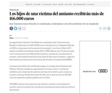 INDEMNIZACIÓN A VÍCTIMA DE AMIANTO