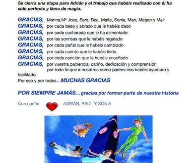 """CARTA DE LOS PAPÁS DE ADRIÁN (RAÚL Y SONIA) A LA ESCUELA INFANTIL """" LOS CASTILLOS """""""