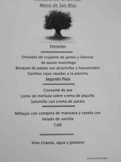 Menú especial  San Blas domingo 3 de febrero