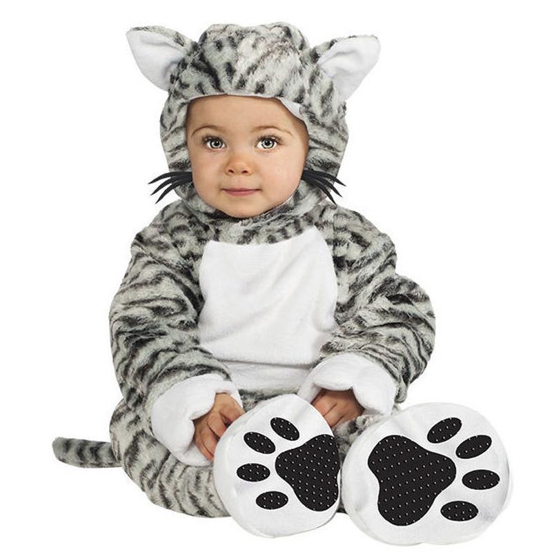 Disfraz gatito gris rayas bebé