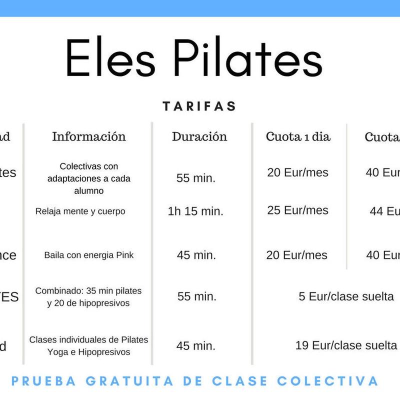 Clases y tarifas: 6 Tipos de Clases de Eles Pilates Madrid