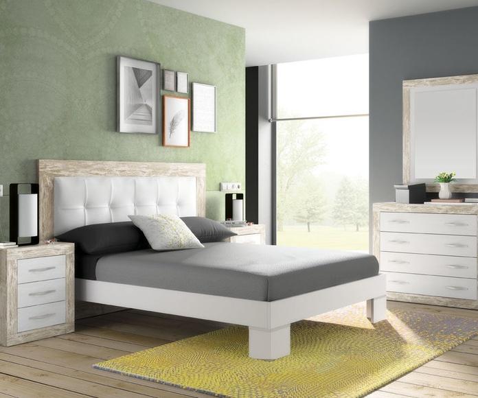 Dormitorio matrimonio Cabecero,dos mesillas, cómoda y espejo