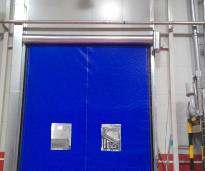 1 Puerta guillotina cortafuegos y puerta rápida de lona enrollable autorreparable