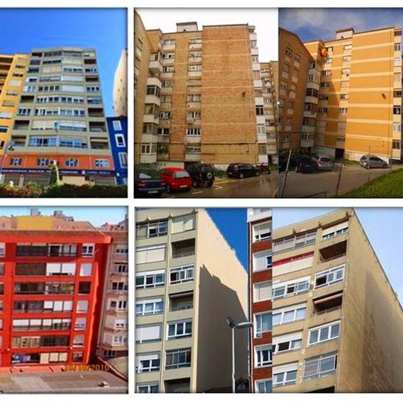 Rehabilitación de fachada con andamio modular y trabajos verticales en Cantabria-Santander.