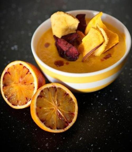Crema de zanahoria, calabaza y aguacate