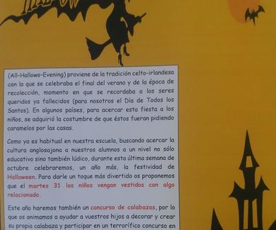 FIESTA DE HALLOWEEN Y CONCURSO CALABAZAS 31 DE OCTUBRE