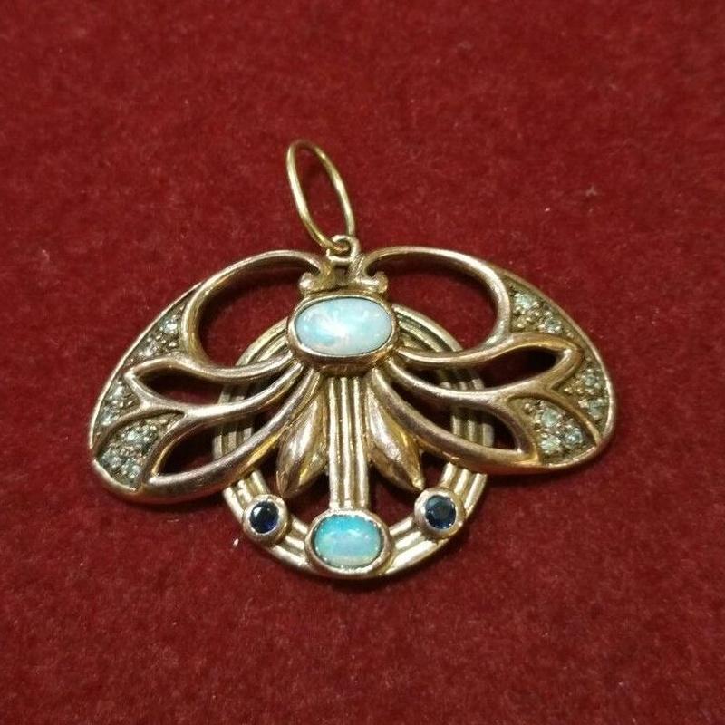 Colgante modernista en oro de 9k, con diamantes, ópalos ,zafiros.Ref.-13309: Catálogo de Antigua Joyeros
