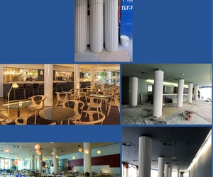 COLUMNAS ESTRIADAS EN NUESTRO TALLER DE ENCARGOS PARA SU COLOCACIÓN EN HOTEL DE LAS LETRAS (CALLE GRAN VIA)