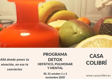 Programa detox hepático, pulmonar y mental, 30,31 octubre, 1 y 2 noviembre