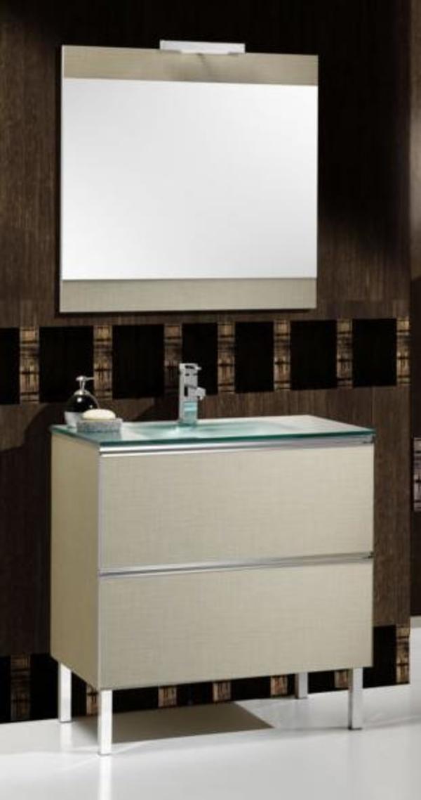 Mueble Rhin beige texturado de 80 con lavabo cristal, espejo y foco