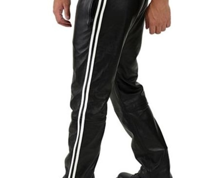Leather jeans Leather Jogging Pants White Stripes(298€)