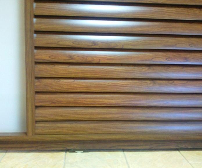 A109 Puerta corredera de aluminio imitación madera lama ovalada imitación madera