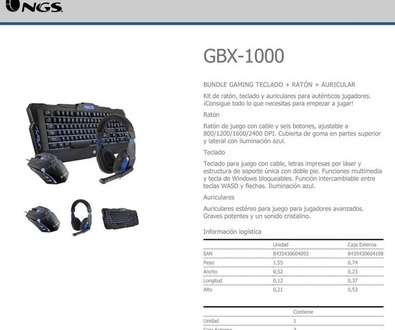 Super oferta GAMING KIT: NGS GBX-1000 (NGS GBX 1000) 39,95 €