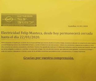 Electricidad Felip Manteca informa a nuestros clientes