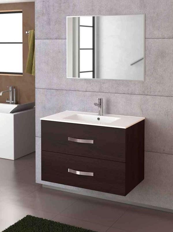 Mueble Deva wengué de 80 con lavabo extrafino y espejo Deva