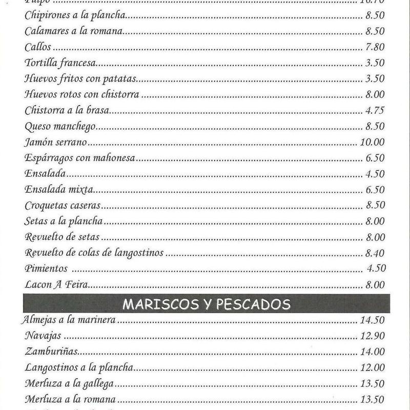 Entrantes, mariscos y pescados - Parrillada Buenos Aires A Coruña
