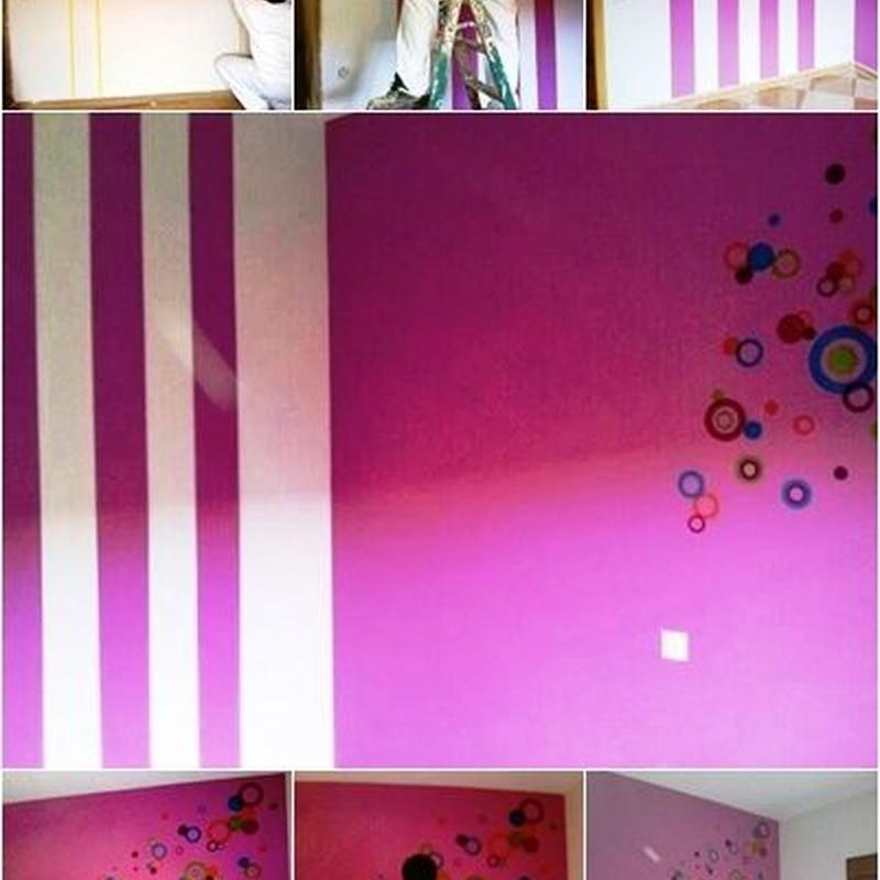 Habitación de pintura plástica, con rayas y sticker