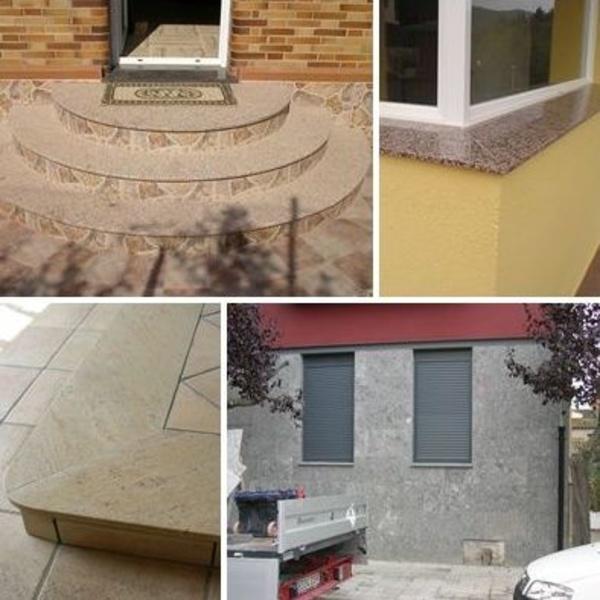 Huellas, poyetes de ventana, remate de gres y fachada