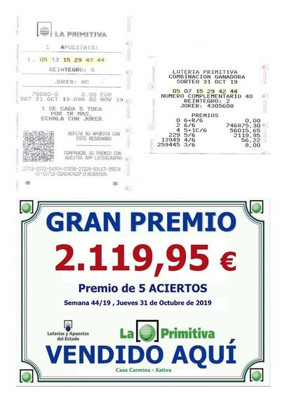 Premio de 5 Aciertos en el sorteo de la loteria primitiva del jueves 31 de Octubre