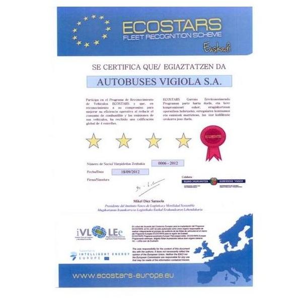 Calificación de cuatro estrellas en el programa Ecostars-Euskadi