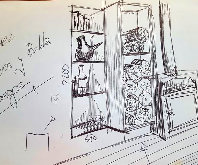 Boceto Mueble contenedor de leña y baldas