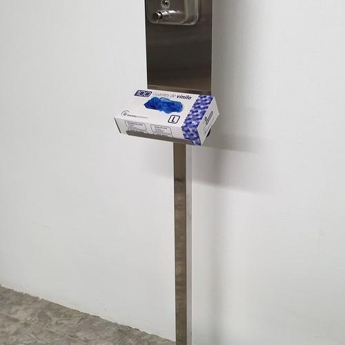 Dispensador de gel manual con base para guantes