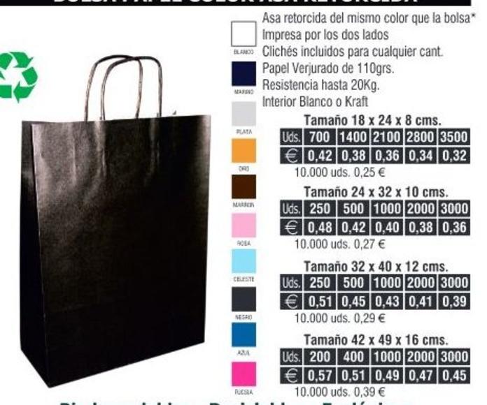 Bolsas de papel 18X24CMS de asa retorcida colores: TIENDA ON LINE de Seriprint Serigrafia