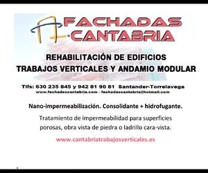 Trabajos verticales Santander y Torrelavega. impermeabilización transparente Fachadas Cantabria.
