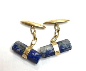 Gemelos de lapis lázuli y oro 18kt.