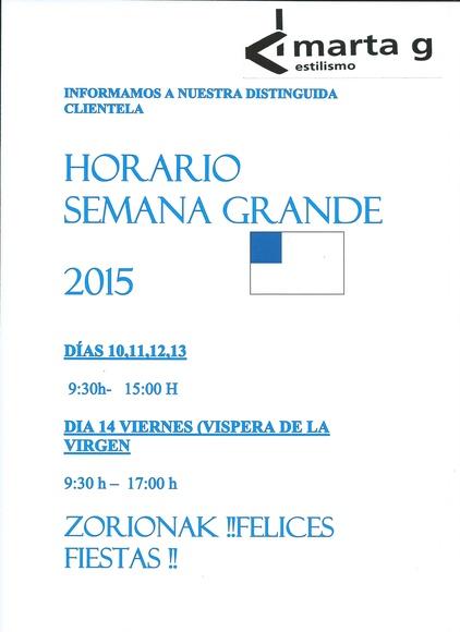 HORARIO SEMANA GRANDE 2015