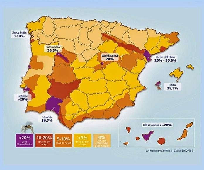 mapa de zonas de filaria en España