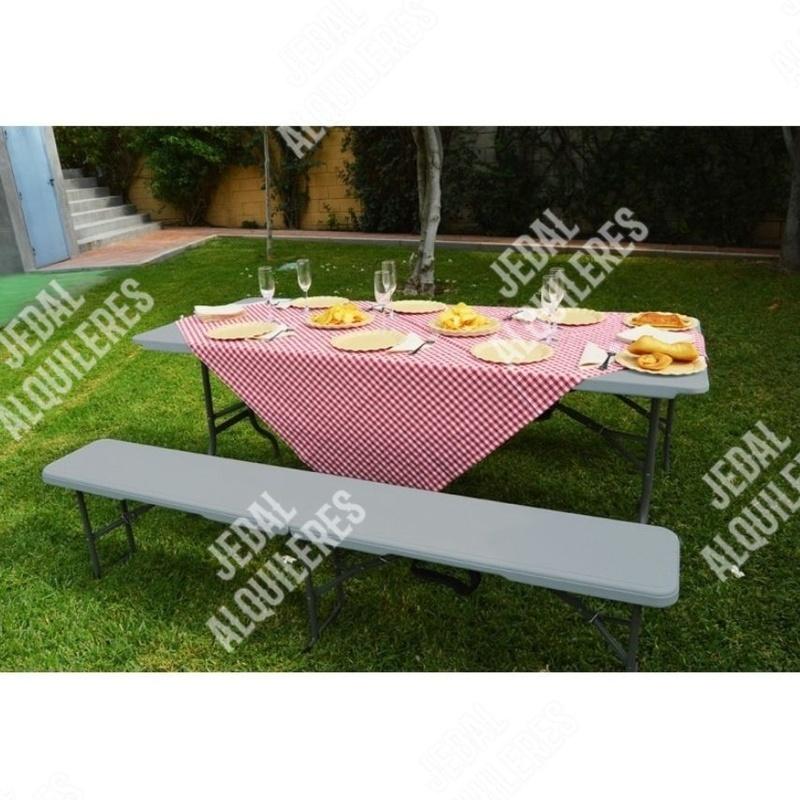 Pack mesa rectangular con 2 bancos plegables: Catálogo de Jedal Alquileres
