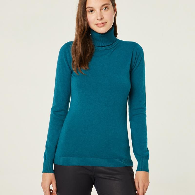 Jersey de punto cuello vuelto color azul: Catálogo de Manuela Lencería