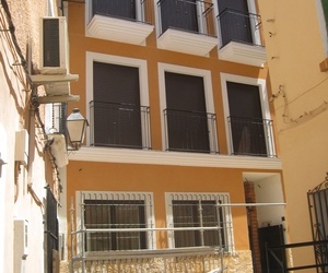 Vista de acabado de fachada en monocapa