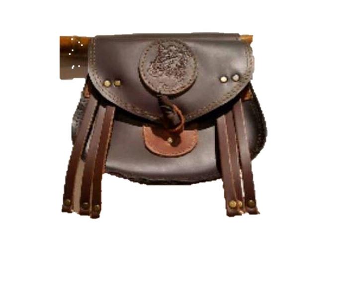 Bolsa ojeo cuero con 6 portacazas y cierre de cuero, artesanal: Tienda online de Artículos de Caza