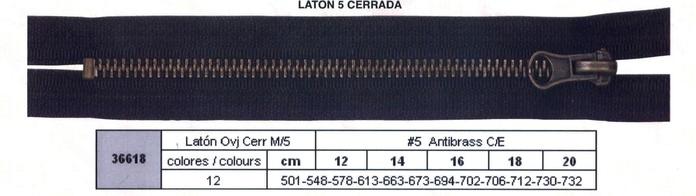 Cremallera SNS Latón Oro viejo Cerrada num. 5