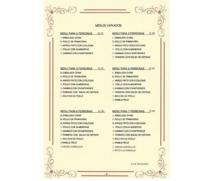 Menús variados: NUESTRA CARTA  de La Grulla de Oro
