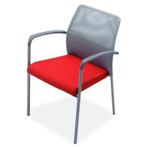 Fram con brazos en malla gris y asiento rojo