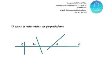 Ejercicio de Matemáticas - Rectas perpendiculares