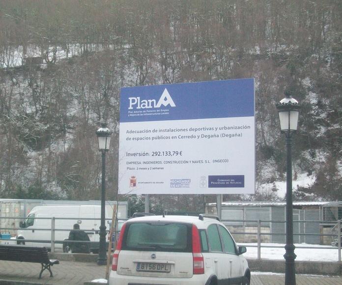 cartel de obra.  Asturias