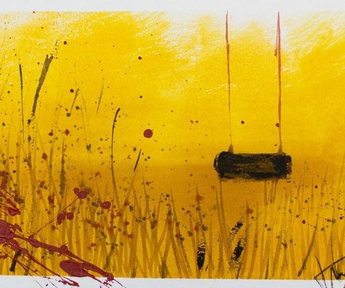 La Flor del Desierto y el Columpio. Técnica mixta sobre tabla. 122X122cm. V