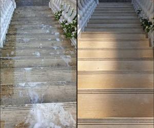 Limpieza de escalera de mármol exterior